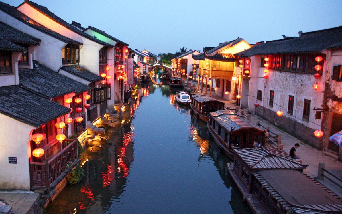 Canal de Souzhou de noche